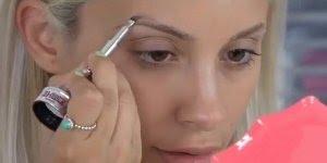Correção de sobrancelhas com maquiagem, olha só como ficou natural e delicada!!!
