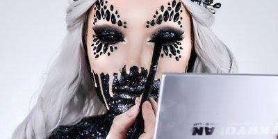 Maquiagem artística aterrorizante, mas com uma beleza diferente!