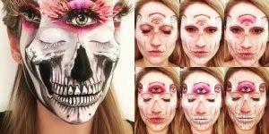 Maquiagem de caveira mexicana para o Halloween, um espetáculo de trabalho!!!