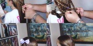 Pai ensinando como é que se faz um penteado na filha, lindo resultado!