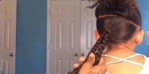 Pai fazendo penteado na filha para ir a escola, que lindos resultados!