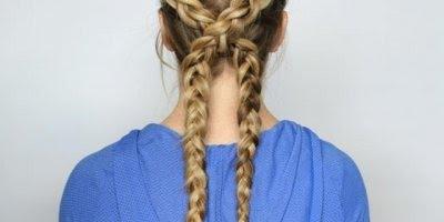 Trança embutida dupla, cruzadas no meio, olha só que penteado lindo!!!