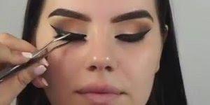 Tutorial de maquiagem, com cílios postiço e contornos, confira!