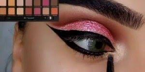 Tutorial de maquiagem para festa na cor rosa com brilho e delineado!!!