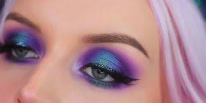 Tutorial de sombra azul com lilás maravilhosa, da só uma olhada nesta combinação