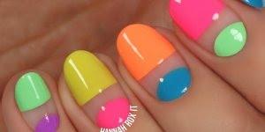 Tutorial de unhas coloridas, olha só que legal estes desenhos!!!