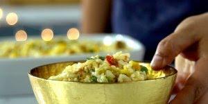 Arroz de forno com sobras do peru de natal, uma super ideia!