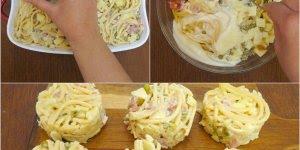 Círculos de macarrão assado com bacon e queijo, uma delicia!
