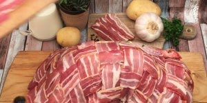 Peru recheado e coberto por bacon, uma maravilhosa receita para suas festas!